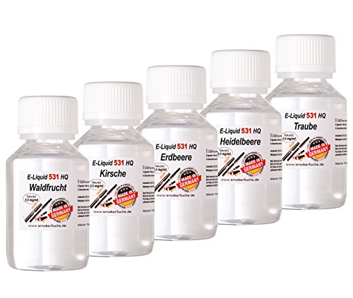 SmokerFuchs® 5 x 100 ml E Liquids Waldfrucht, Kirsche Erdbeere, Heidelbeere, Traube - shisha E-liquid für E Zigaretten Nikotin-Frei