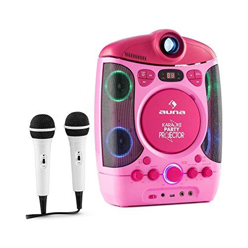 auna Kara Projectura - Karaoke Anlage, Karaokemaschine, Karaoke-Audiosystem, LCD Video Projektor, LED-Lichtshow, Frontloading CD-Player, USB Port, 2 x dynamisches Mikrofon, pink