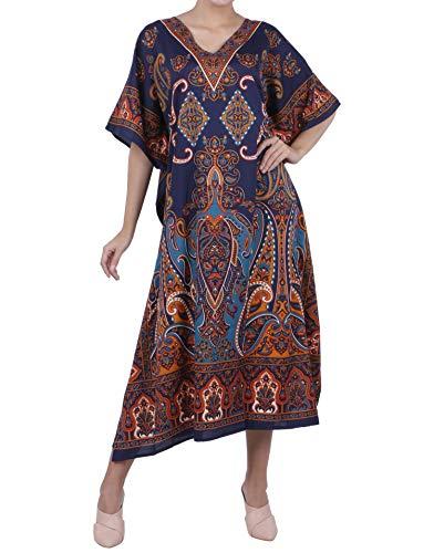 Miss Lavish London Frauen Damen Kaftan Tunika Kimono freie Größe Lange Maxi Party Kleid für Loungewear Urlaub Nachtwäsche Strand jeden Tag Kleider #102 [Blau EU 38-44]