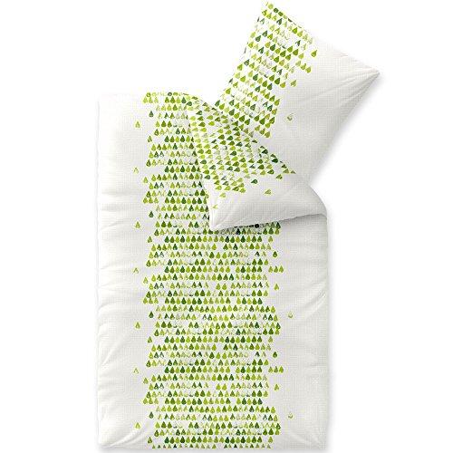 CelinaTex Enjoy Bettwäsche 155 x 220 cm 2teilig Baumwolle Bettbezug Seersucker Amelie Herz Weiß Grün
