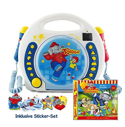 X4-TECH Benjamin Blümchen - Kinder CD Player USB-Stick, SD-Karte, MP3-CD - 2x Mikrofone Karaoke inkl Sticker + Gratis-CD