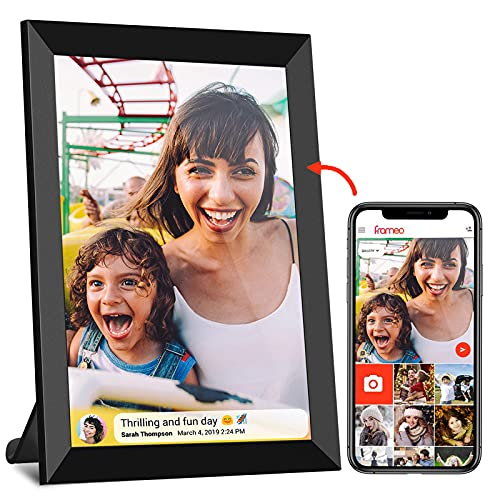 FRAMEO WiFi Digitaler Bilderrahmen mit Touchscreen 8-Zoll-IPS (1280 x 800), automatisch drehbares Hochformat und Querformat, integrierter 16-GB-Speicher, Momente sofort über die Frameo-App