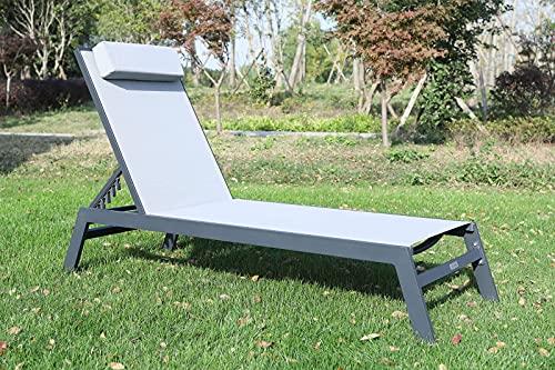VILLANA exklusive Gartenliege von VILLANA in edlem schwarz-grau, starkes Aluminiumgestell, Sitzfläche aus hochwertigem Kunststoffgewebe, 198 x 100/66 cm, 4-stufig verstellbare Rückenlehne, wetterfest