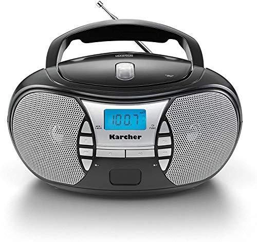 Karcher RR 5025-B tragbares CD Radio (CD-Player, UKW Radio, Batterie/Netzbetrieb, AUX-In, Kopfhöreranschluss) schwarz