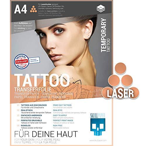 SKULLPAPER temporäre Tattoo-Transferfolie FÜR DIE HAUT - SEHR GUT getestet - für Laserdrucker (A4-4 Blatt)