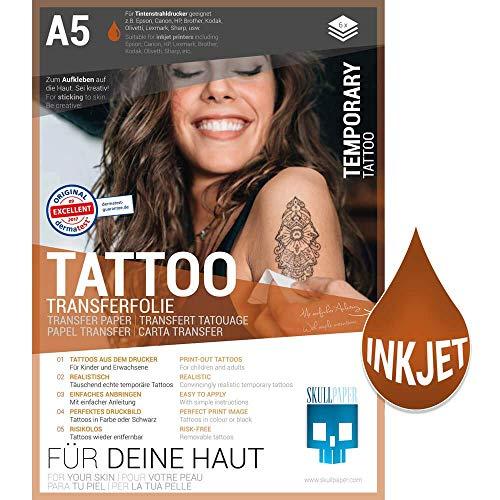 SKULLPAPER temporäre Tattoo-Transferfolie FÜR DIE HAUT - SEHR GUT getestet - für Tintenstrahldrucker (A5-6 Blatt)