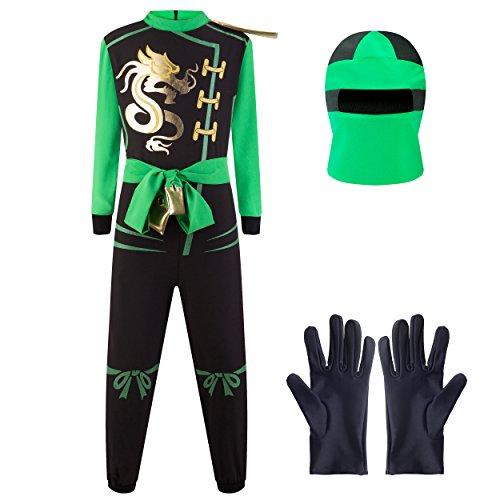 Katara 1771 - Ninja Kostüm Anzug, Kinder, Verkleidung Fasching Karneval, Größe L, Grün Schwarz