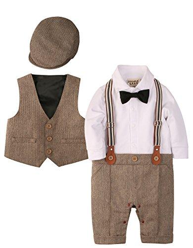 Zoerea 3tlg Baby Jungen Bekleidungssets Strampler + Weste + Hut Fliege Krawatte Anzug Gentleman Festliche Taufe Hochzeit Langarm Baby Kleikind- Gr. Etikette 90 (ca.12-20 monate), Braun 013