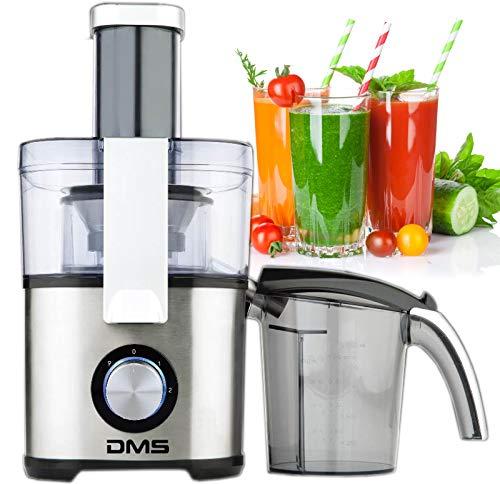 DMS® Elektrischer XL Entsafter für Obst und Gemüse aus Edelstahl Saftpresse inkl. 1,3 Liter Saftbehälter 1000W Obstpresse JR-2