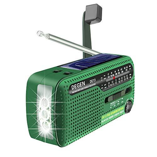 Tragbares Kurbel-Radio Weltempfänger, Degen DE13 FM AM SW Kurbel-Dynamo Solarenergie für den Ausnahmezustand A0798A