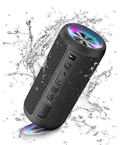 Ortizan Bluetooth Lautsprecher mit Licht, Musikbox Tragbarer Bluetooth Box mit IPX7 wasserdicht, Dualen Bass-Treibern, 30h Akku, Freisprechfunktion für Phone, Draußen