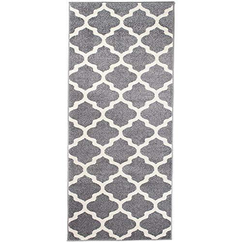 Carpeto Rugs Teppich Läufer Flur - Orientalisch Teppichläufer - Kurzflor, Weich - Flurläufer für Wohnzimmer, Schlafzimmer - Teppiche - Meterware - Grau - 80 x 400 cm