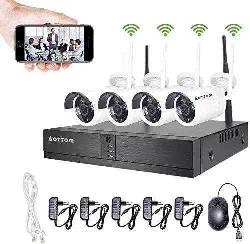 WLAN Überwachungskamera Set, 4CH NVR Kit mit 4 Außen 720P Sicherheitskamera ohne Festplatte, IP Kamera Outdoor mit Beweungsmelder, 30m IR Nachtsicht, 2 Wege Audio IP66 Wasserdicht, kostenlos APP XMEYE