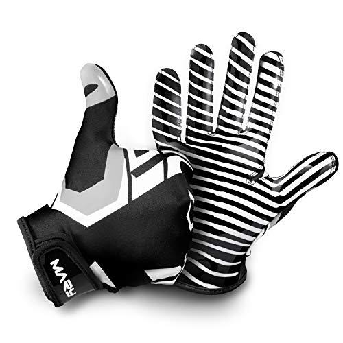 Hail Mary American Football Handschuhe Gloves Receiver Empfänger 2.0 Black & White Edition (M)