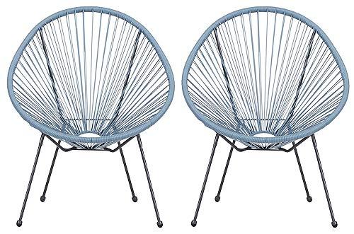 Lounge Sessel Veracruz   Acapulco Stuhl   2er Set Hellblau/Grau   Gartensessel   Gartenstuhl   Witterungsbeständig   Sitzfläche aus Polyrattan   Für Innen Und Außen