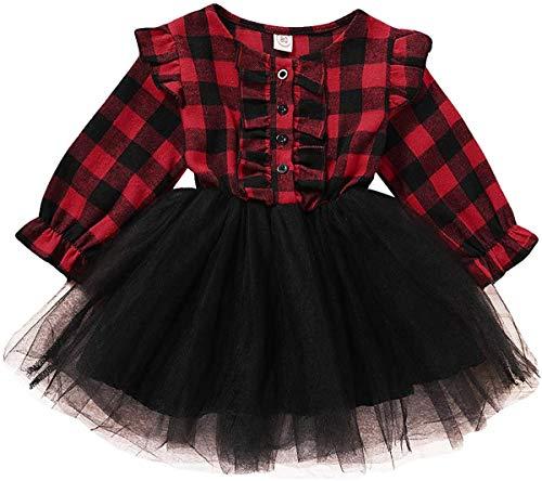 Kleine Kinder Baby Girl Plaid Kleider Langarm Rot Plaids Shirts Tops Tutu Röcke Weihnachtskleidung Spielkleidung (red,6-12 Monate)
