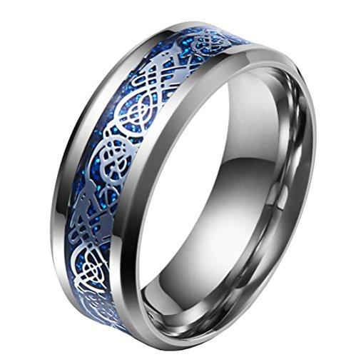 HIJONES Herren Celtic Dragon Blau Carbon Fiber Silber Edelstahl Ring Ehering 8MM Größe 60