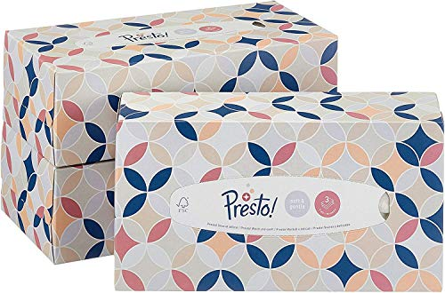 Amazon-Marke: Presto! 3-lagige Papiertaschentücher-Boxen, 12er Pack (12 x 90 Tücher)