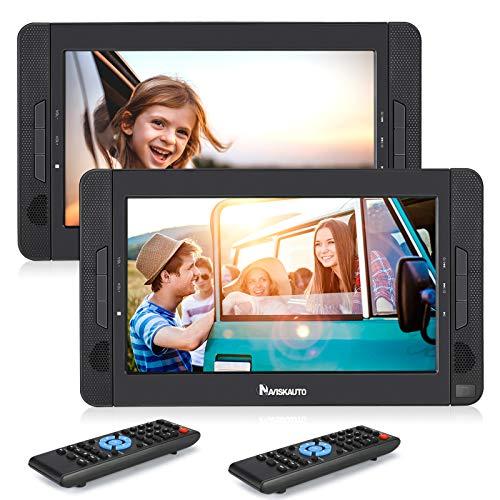 NAVISKAUTO 2 DVD Player Auto Tragbar 10,1' DVD Player Kopfstütze 1024 * 600 HD Doppel Player 5 Stdn.Akku SD/USB AV IN/Out 12V