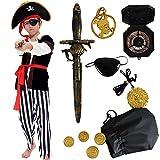 Tacobear Piratenkostüm Kinder Jungen mit Piraten Zubehöre Piraten Augenklappe Piraten Dolch Kompass Geldbeutel Ohrring Gold medasie Kinder Piraten Fancy Dress Kostüm Jungen (S (4-6 Jahre))