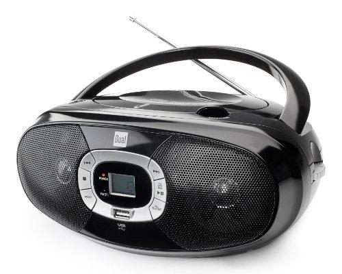 Radio mit CD-Player • USB • MP3 • UKW-Radio • Kopfhöreranschluss • Boombox • Stereo Lautsprecher • Netz- / Batteriebetrieb • Tragbar • Schwarz • Dual P 390