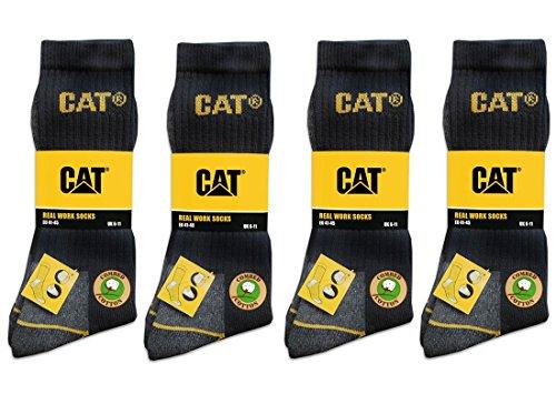 CAT Caterpillar 12 Paar Arbeitssocken, Schwarz - MEGA-Größenauswahl für optimale Größenwahl - 35-40   39-42  41-45   43-46   46-50 (43-46)