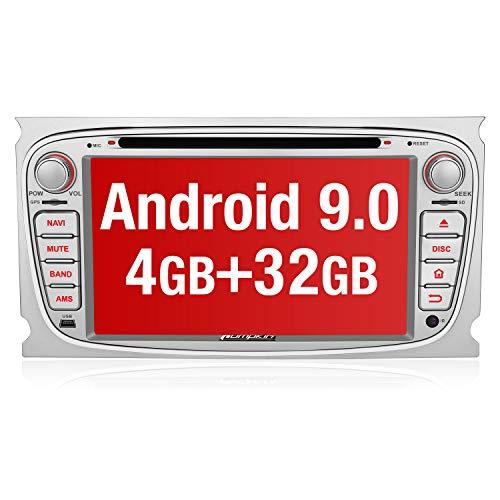 PUMPKIN Android 9.0 Autoradio Radio für Ford Focus Mondeo mit Navi 4GB / 8 Core Unterstützt Bluetooth DAB + CD DVD WiFi 4G Android Auto USB MicroSD 2 Din 7 Zoll Bildschirm Silber