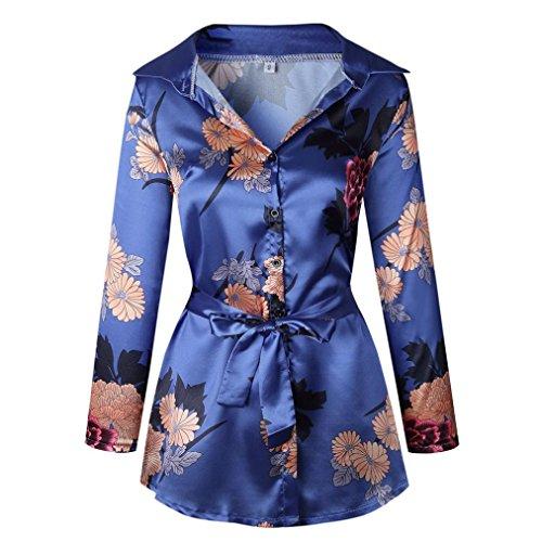 GreatestPAK Blumendruck Damen Bluse Satin Seide lose Damen Kleid mit V-Ausschnitt T-Shirt,Blau,L