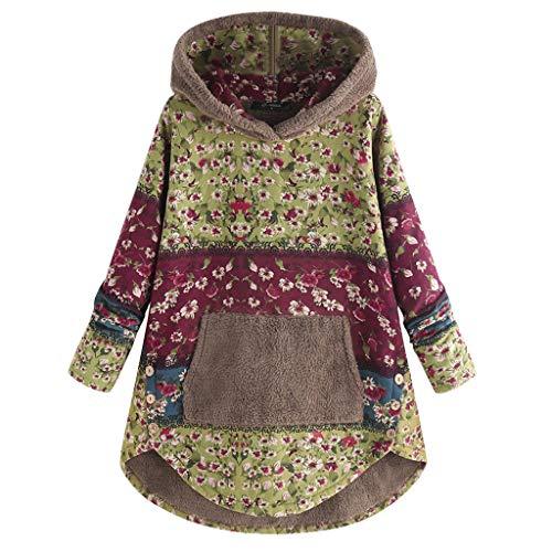 Lazzboy Kapuzenpullover Frauen Fleece Patchwork Blumendruck Langarm Taschen Hoodie Top Teddy Damen Plüschmantel Mit Taschen, Herbst Einfarbige Pullover Winter Outwear(Grün,5XL)