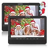 WONNIE 10' Auto DVD Player 2 Monitore Auto Tragbarer DVD Player Kopfstütze Fernseher 2 Bildschirm mit 5 Stunden Akku, unterstützt USB/SD/AV IN & Out (1Host +1 Slave)