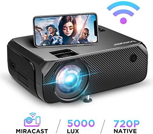 【2020 Upgrade】 WiFi Beamer 5000 Lumen Native 720p Unterstützt 1080P Full HD BOMAKER Wireless Projektor Max. 250'' Display Mini LED kompatibel mit iPhone/Android Smart Phone/iPad/Mac/Laptop/PC