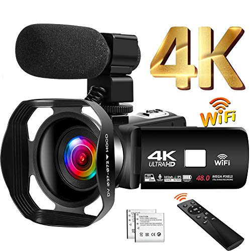 Camcorder 4K 48MP Videokamera 18X WiFi YouTube Kamera IR Nachtsicht Camcorder mit verbesserter Fernbedienung, externem Mikrofon und Gegenlichtblende