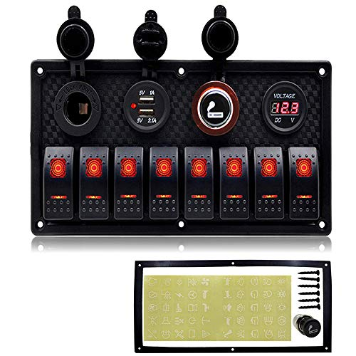 Marine Boat 8 Gang Toggle Rocker Switch Panel wasserdicht ON-OFF Zündschalter mit digitaler Spannungsanzeige 3.1A Double USB Ladegerät 12V Cigarette Lighter Sockel für Auto LKW Yacht