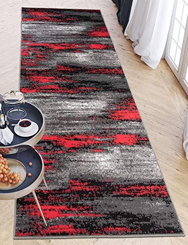 Carpeto Rugs Teppich Läufer Flur - Modern Teppichläufer – Kurzflor, Weich - für Küche Vorzimmer Eingangsbereich Schlafzimmer - Meterware 80 cm Breit - Grau Rot 80 x 150 cm