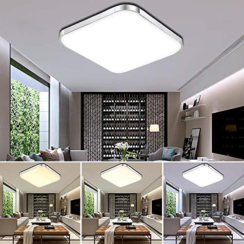 ETiME® 64W LED Deckenleuchte Dimmbar Deckenlampe Modern Wohnzimmer Lampe Schlafzimmer Küche Panel Leuchte 2700-6500K mit Fernbedienung Silber (65x65cm 64W Dimmbar)