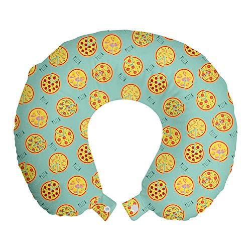 ABAKUHAUS Pizza Reisekissen Nackenstütze, Cartoon-Stil Italienische Küche, Schaumstoff Reiseartikel für Flugzeug und Auto, 30x30 cm, Mint Green und Multicolor