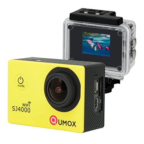 QUMOX WiFi Actioncam SJ4000 Action Sport Kamera Camera Waterproof Full HD 1080p Video Helmkamera Gelb mit Verbesserten Batterien und Zubehör Kits und Wasserdichtes Gehäuse