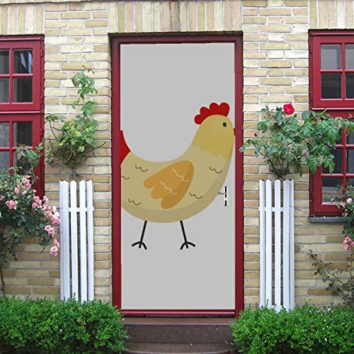 Buntes kleines Huhn Genuss selbstklebende Vinyl abnehmbare Klassenzimmer Aufkleber für Tür Schlafzimmer Tür Wandbilder 30x79 Zoll (77x200 cm) 2 Stück