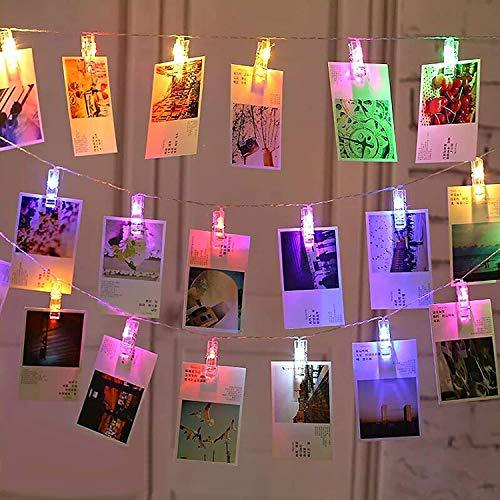LED Fotoclips Lichterkette, massway Foto Clip Lichterketten 6M 40 LED Mehrfarbig Bilder Clips Lichterkette Bilderrahmen Dekor für Zimmer, Wohnzimmer, Weihnachten, Hochzeit, Party - Batteriebetrieben