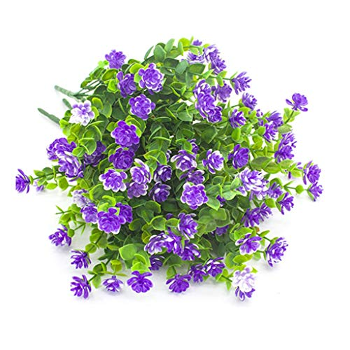 Blumen Kunststoff Grüne Künstliche Pflanze/Sträucher Eukalyptus Zweig Artificial Greenery Für Garten Büro Hause Fenster Hof Hochzeit Freien Innen Deko- 4 Bündel,Purple