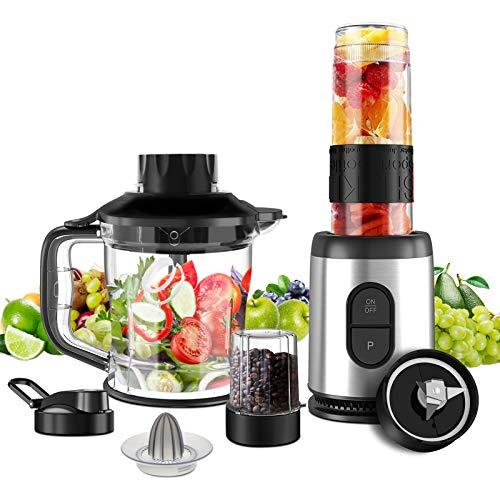NWOUIIAY Standmixer 5-in-1Elektrischer Entsafter Set 800W Mini Smoothie Mixer Silber-schwarze für die Zubereitung von Babynahrung Salaten Suppen und Gemüse Smoothie Shakes