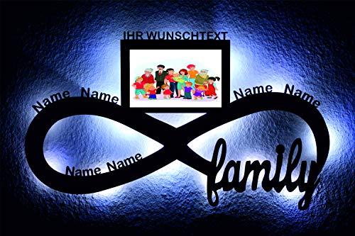 led Familie Unendlichkeitszeichen Bilderrahmen Namen oder Datum Lasergravur Geschenke Wohnzimmer Schlafzimmer family