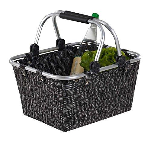 Home4You Einkaufskorb Einkaufstasche Tragekorb Flechtkorb | Kunststoff | Schwarz | mit Griffen | BxHxT: 40x30x20 cm