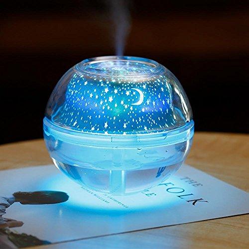 SADDPA Diffusor LED Projektor Licht Luftbefeuchter Kristall 500ml USB Universe Nachtlicht Luftbefeuchter für Schlafzimmer