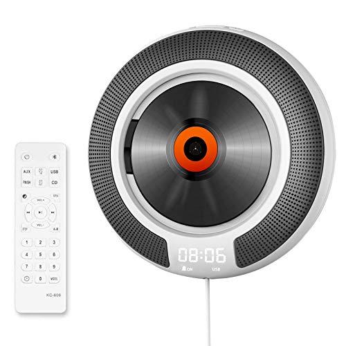 Tragbarer CD Player mit Bluetooth, VOKSUN Musik Player mit Fernbedienung, wandmontierbar eingebaute Lautsprecher, Heim-Audio-Boombox, FM-Radio/USB/MP3/AUX 3,5 mm Kopfhöreranschluss, für Kinder Elder