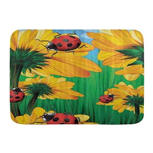 Fußmatten, Mode Sonnenblumen und Marienkäfer Frühling, Küche Boden Bad Teppich Matte Saugfähig Innen Bad Dekor Fußmatte rutschfest