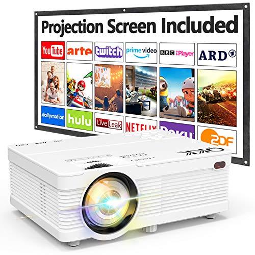 QKK Beamer Unterstützt 1080P Full HD, 5000 Lumen Mini Projektor mit Screen, Native 720P HD Video Beamer Kompatibel mit TV Stick Spiel Konsole Smartphone HDMI VGA AV USB, Heimkino Beamer weiß, MEHRWEG