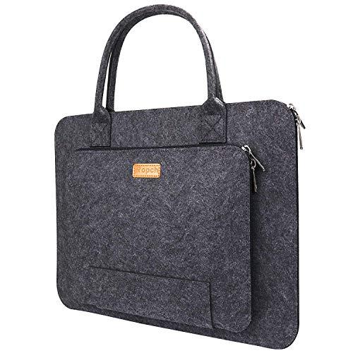 Ropch 15 Zoll Laptoptasche, Filz Tragbare Notebooktasche Handtasche Laptop Schutzhülle Sleeve Hülle Tasche für Acer / Asus / Dell / HP / Lenovo - Dunkelgrau