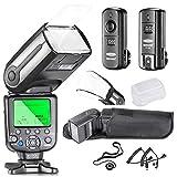 Neewer Profi i-TTL-Kamera Ein / Aus KamerablitzSatz Blitz mit Auto-Focus Bildschirm + Wireless-Auslöser +M-C-KabelKabel&Kabel+ Hart & Weich Blitz-Diffusoren + Objektivdeckelhalter