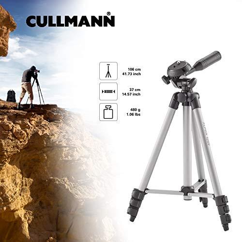 Cullmann ALPHA 1000 Stativ mit 3-Wege-Kopf (3 Auszüge, Gewicht 480g, Tragfähigkeit 1 kg, 106cm Höhe, Packmaß 37cm)